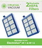 2 Electrolux Washable HF1, HF12, EL012 HEPA Filters, Part # H13, SP012, H12 & 60286A, Designed & Engineered by Crucial Vacuum