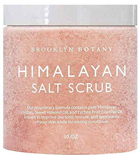 Himalayan Salt Body Scrub 10 oz - All Natural Cleansing Exfoliator With Sweet Almond Oil Promoting Radiant Skin - Brooklyn ()