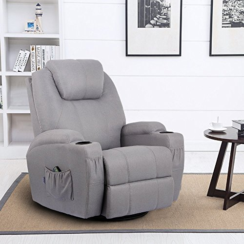Leather Like Swivel Recliner (Unionline Heated Grey Fabric Massage Recliner Chair 360 Degree Swivel Ergonomic Lounge (Grey Chair))