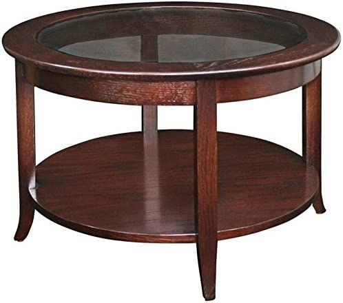 BOWERY HILL Solid Wood Round Glass Top Coffee Table - the best living room table for the money