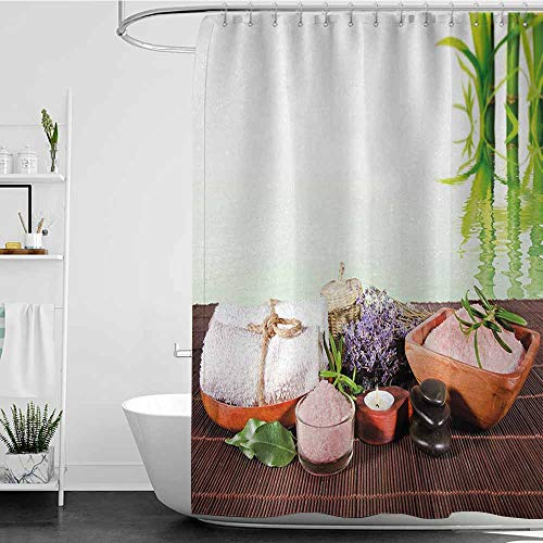 (SKDSArts Shower Curtains Music Spa,Bamboo Background with Towel Flowers Candled and Zen Hot Massage Stones,Green White and Brown,W72 x L72,Shower Curtain for Small Shower stall)