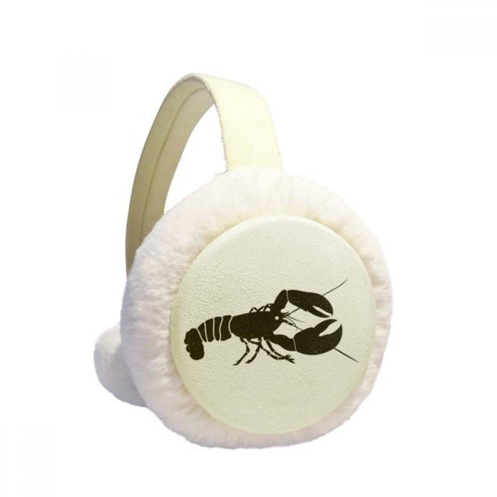 Shrimp Marine Life Black Illustration Winter Earmuffs Ear Warmers Faux Fur Foldable Plush Outdoor Gift
