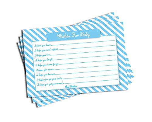 Boy Baby Shower Light Blue Stripe Wishes for Baby Cards Games (50-cards) (Navy Stripe Favor Cards)