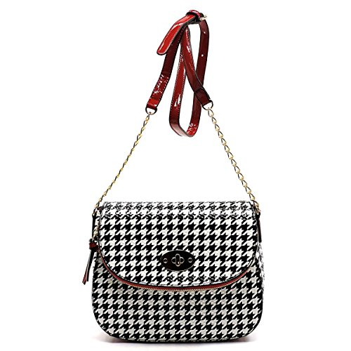 Leopard Printed Leather Tote (Elphis Houndstooth Leopard Glossy Animal Printed Saddle Satchel Crossbody Bag Purse (046B) (Houndstooth/Red))