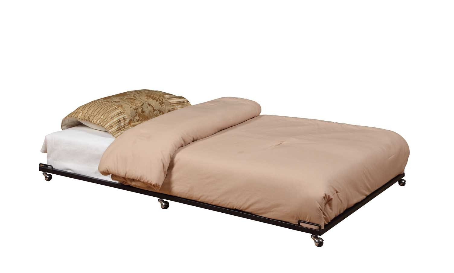 Kings Brand Furniture - Twin Size Black Metal Roll Out Trundle Bed Frame for Daybed by 2K Furniture Designs