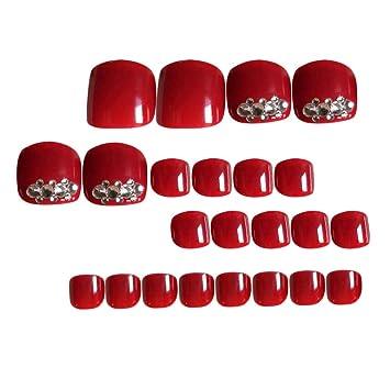 Lurrose 24 piezas de uñas postizas para dedos de los pies ...