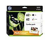 HP 62XL/62 High Yield Black and Standard Tricolor Ink Cartridges Combo Pack