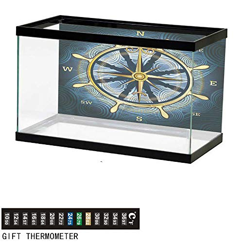 Icon Mens Regulator - bybyhome Fish Tank Backdrop Compass,Yellow Navigation Icon,Aquarium Background,48