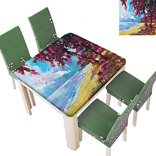 - Indoor and Outdoor Tablecloth Floral Colored Blossom Trees The Tropic Sandy Gold ACH Seascape Summer Prin Liquid Spills Bead up 23 x 23 Inch
