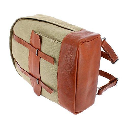 DUDU Zaino per PC porta Computer Notebook in Pelle e Tessuto resistente con tasca frontale e spallacci regolabili Leder