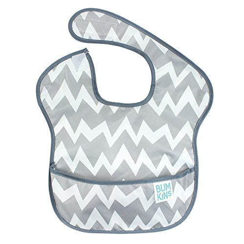 Price comparison product image Bumkins SuperBib,  Baby Bib,  Waterproof,  Washable,  Stain and Odor Resistant,  6-24 Months - Gray Chevron