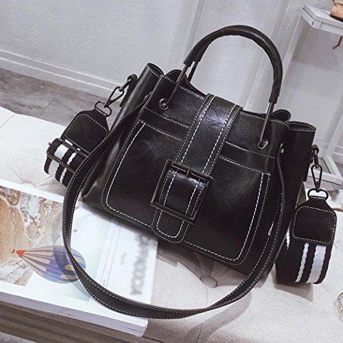 YJYDADA Retro Women's Leather Shoulder Bags With Corssbody Bag&Handbag (Black) from YJYDADA