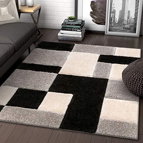 Square Black Shag Rug - Well Woven Ella Multi Geometric Boxes Thick Soft Plush 3D Textured Shag Area Rug 5x7 (5'3
