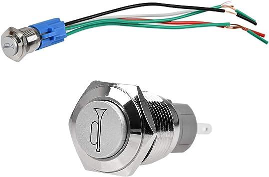 E Support/™ 16mm 12V 3A Car White Light Angel Eye Metal Push Button Switch Socket