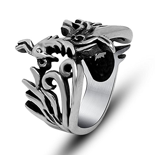 eel Mens Signet Rings Size 10 Vintage Phoenix Bird Ring 22.5mm Width Men Ring Hip Hop ()