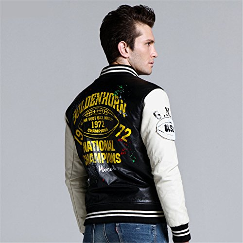 Musamk Dashing Leather Jacket College Style Jaqueta Couro Mens PU Leather Jacket Street Skate Jacket Autumn Winter Coat yellow blackXXL High Grade at ...