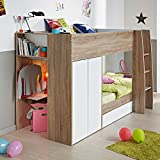 Kids Bunk Bed, Happy Beds Stim Acacia White Multicolour Wood Modern Wardrobe Shelves Storage Twin Sleeper - Euro Single (90 x 200 cm) Frame Only