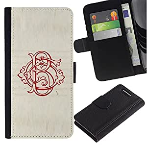 KingStore / Leather Etui en cuir / Sony Xperia Z1 Compact D5503 / Initial Rouge Vintage Calligraphie