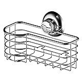 kitchen suction basket - 123 Dynamic Stainless Steel Rustproof Kitchen Sink Sponge & Scrub Brush Holder Basket - Super Strong Rotate & Lock Vacuum Suction Cup - Storage for Kitchen, Bathroom & Shower