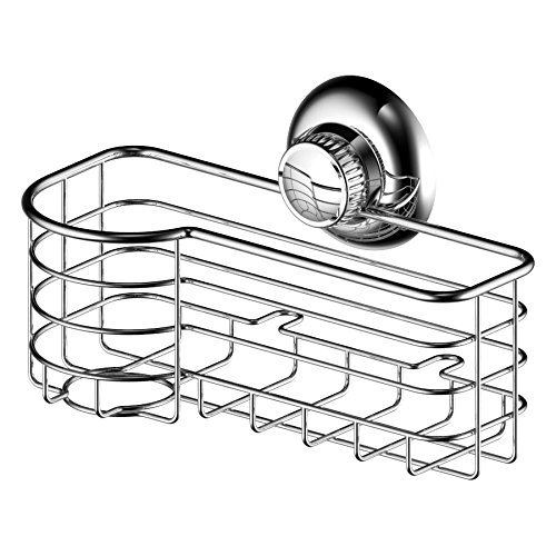 123 Dynamic Stainless Steel Rustproof Kitchen Sink Sponge & Scrub Brush Holder Basket - Super Strong Rotate & Lock Vacuum Suction Cup - Storage for Kitchen, Bathroom & Shower