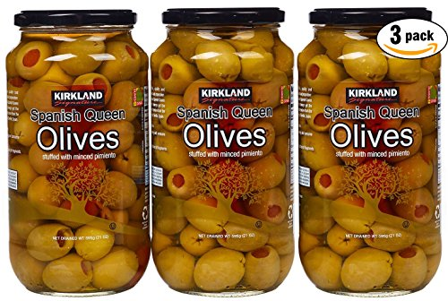 Olives Stuffed Pimiento (Kirkland Signature Spanish Queen Olives Stuffed With Minced Pimiento, 21oz Glass Jar (Pack of 3, Total of 63 Oz))