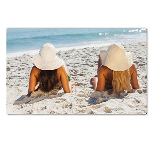 Luxlady Large TableMats Attractive blonde and brunette in bikinis lying on the sand looking at the sea IMAGE 25741402 Customized Art Home Kitchen