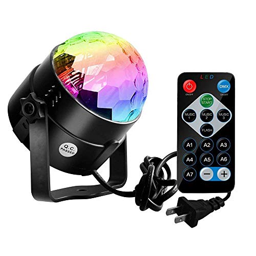 Disco Ball Strobe Light,Sobetter Party Lights Disco Lights Karaoke Machine 3W Dj Light LED Portable 7Colors Sound Activated Stage Lights Festival Bar Club Party Outdoor More (Remote) by Sobetter