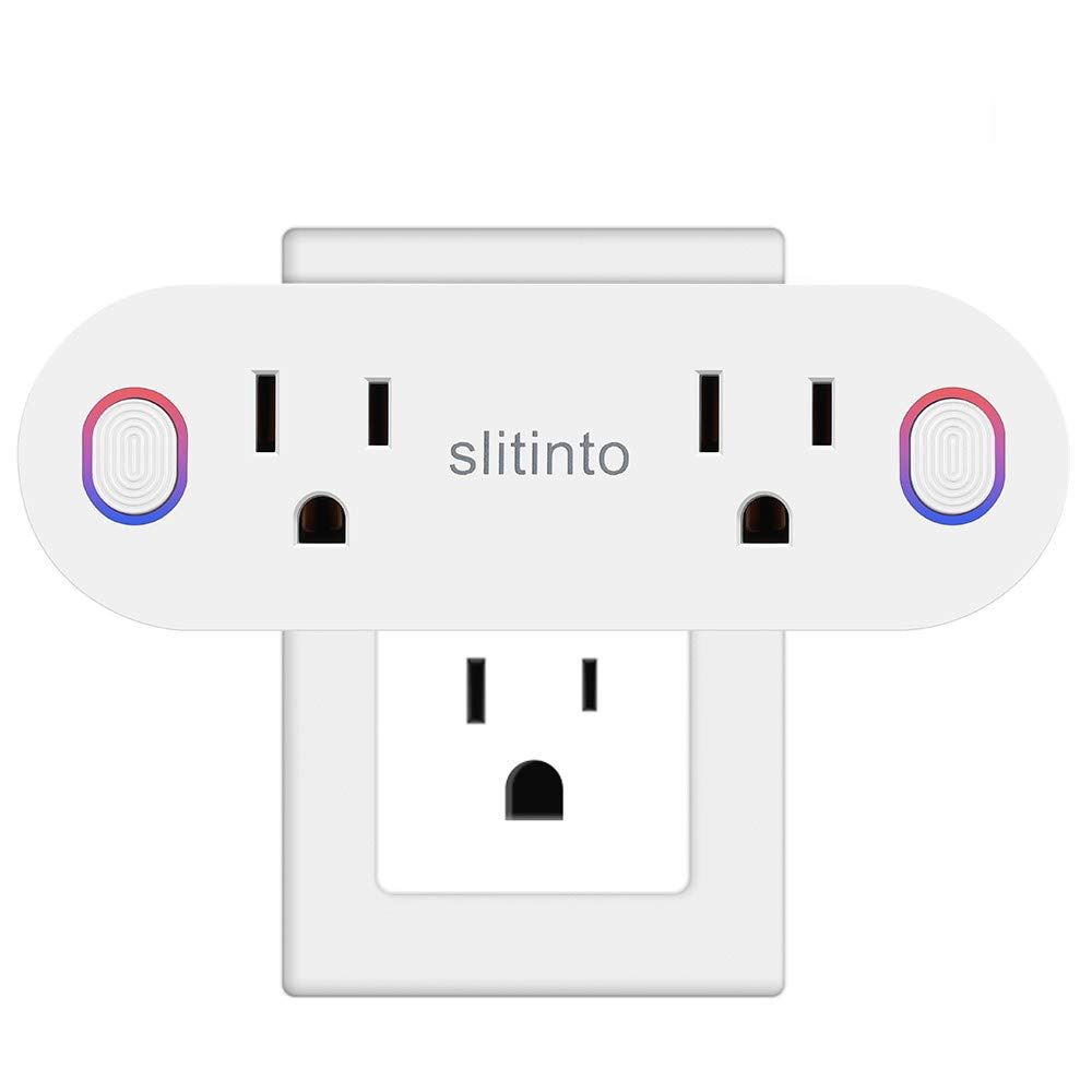 WiFi Smart Plug Socket Works with Alexa Echo/Google Home/IFTTT, Slitinto Dual Mini Smart Outlets with Remote Control Individually, Energy Monitoring and Timer, No Hub Required, ETL Listed-1 Pack