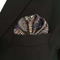 Shlax&Wing Paisley Black Gold Pocket Square Mens Ties Silk Hankies