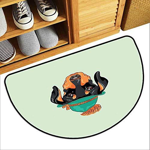(DILITECK Non-Slip Door mat Dachshund Hipster Pure Breed Dog Silhouette in a Green Tyrolean Hat Cute Dachshund Puppy Machine wash/Non-Slip W31 xL20 Multicolor)