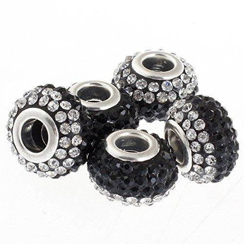RUBYCA Big Hole Czech Crystal Large Charm Beads fit European Bracelet (10pcs, 15mm, Black (Jet Italian Charm)