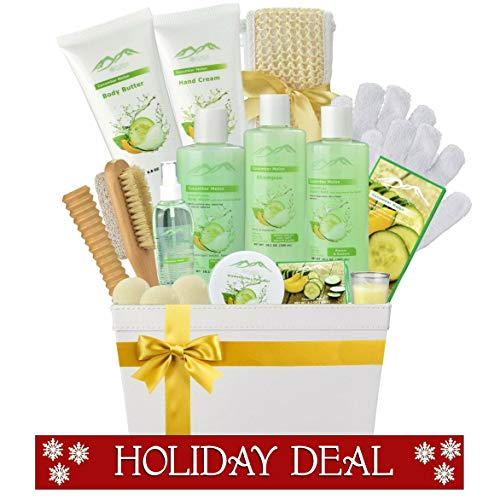 Spa Gift Baskets Beauty Gift Basket - Spa Basket, Spa Kit Bed and Bath Body Works Gift Baskets for Women! Bath Gift Set Bubble Bath Basket Body Lotion Gift Set for Holidays (Cucumber Melon) ()