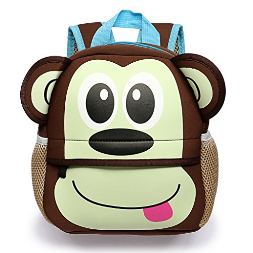 Hipiwe Little Kid Toddler Backpack Baby Boys Girls Kindergarten Pre School Bags Cute Neoprene Cartoon Backpacks for Children 1-5 Years Old (Monkey)