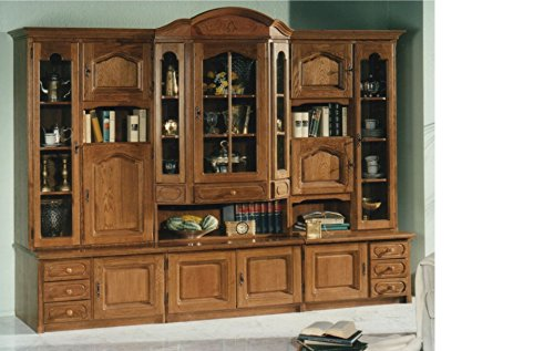 German Furniture Warehouse China Cabinet, large, solid filled Oak wood, hutch with glass display and lots of storage - Glass Oak Sideboard
