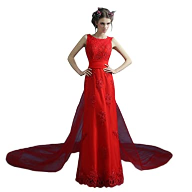 Vimans® Womens Long Red Scoop Lace Wedding Party Dress with ...