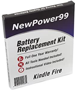Kindle Fire (Kindle Fire 1, Kindle Fire I) Battery Replacement Kit with Video Installation DVD, Installation Tools, and Extended Life Battery