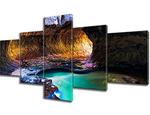 Wall Art for Living Room 5 Piece Canvas Subway Slot Canyon in Autumn, Zion National Park, Utah Paintings Pictures Artwork Home Decor Giclee Framed Gallery-wrapped Stretched Ready to Hang(50''Wx24''H)