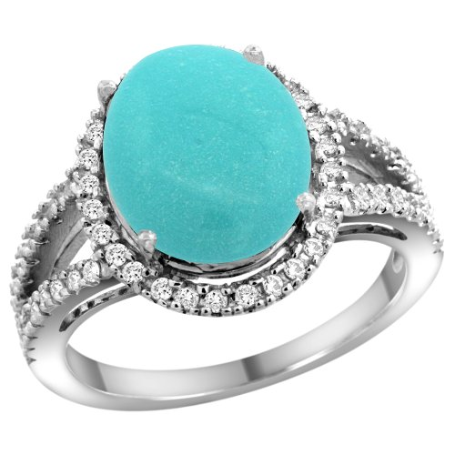 14k White Gold Natural Turquoise Ring Oval 12x10mm Diamond Accents, size 6 6x10mm Oval Turquoise Ring