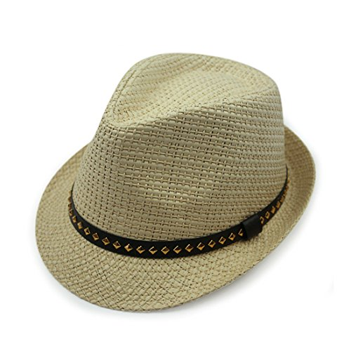 G-CAP Globalwells Fedora Hat Summer Cool Paper Straw Trilby Faux Leather Banded for Men C ()