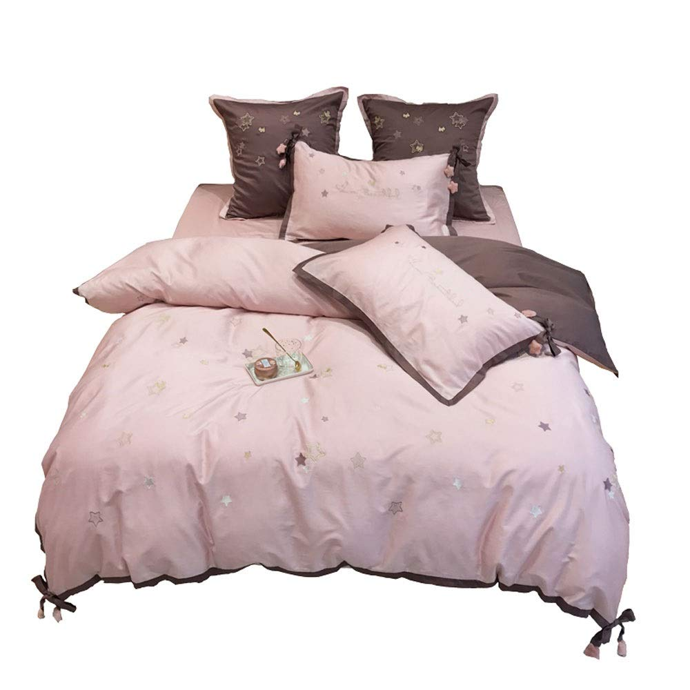TONGSH ピンク布団カバーセット、コットン4セットのシンプルなスター刺繍パウダーカラーボウ寝具、エレガントプリンセスキルトカバーセット用女の子4ピースクイーンサイズ (色 : Seven-piece, サイズ さいず : 200x230cm) B07QKMNB66 Seven-piece 200x230cm