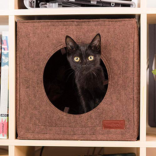 Thick Felt Cat Cave for IKEA Shelf - Cat Bed with Pillow & Reinforced Top - Easy Travel Cat Cube is Machine Washable - Foldable Cat Houses for Indoor Cats (Gray) (Cat Top Beds)