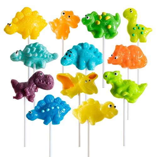 Prextex Dinosaur Lollipop Party Favors Dinosaur Suckers Pack of 12 Chocolate Lollipops Birthday Favors