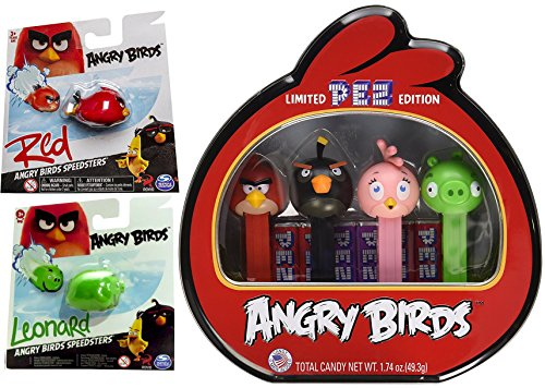 Knex Racers (Angry Birds Cartoons Character Speedsters Red Car & Minion Green Pig Leonard pack rides + Limited Edition Pez Candy Tin)