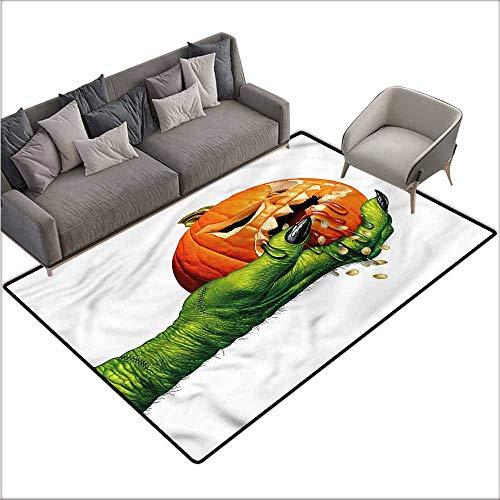 Anti-Slip Coffee Table Floor Mats Pumpkin,Scary Halloween Monster 80