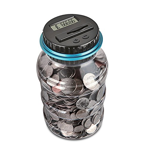 Digital Piggy Bank Counter, AOZBZ Automatic UK Coin Counting Jar Money Box for Kids and Adult, Safe Money Bank Coin Saving Pot Container with LCD Display and Large Capacity