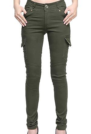 cede7897159b Runyue Pantalon Cargo pour Femme Pantalon Uni Serré avec Camouflage Print  Multi-Poches Trousers Vert