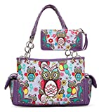 Owl Purse and Wallet Set, Colorful Satchel Western Handbag Style (Purple)