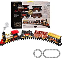 ECCRIS Train Set with Light Sound Smoke Battery Operated Kid Toy Playset