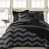 Black and White King Size Comforter Sets Comfy Bedding Spot Chevron Microfiber 5-Piece Comforter Set (King 5-piece, Black)