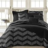 Black and White King Size Comforter Comfy Bedding Spot Chevron Microfiber 5-Piece Comforter Set (King 5-piece, Black)
